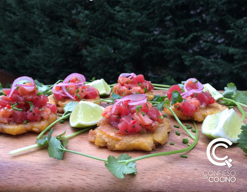 ceviche estilo poke de salmón y atún