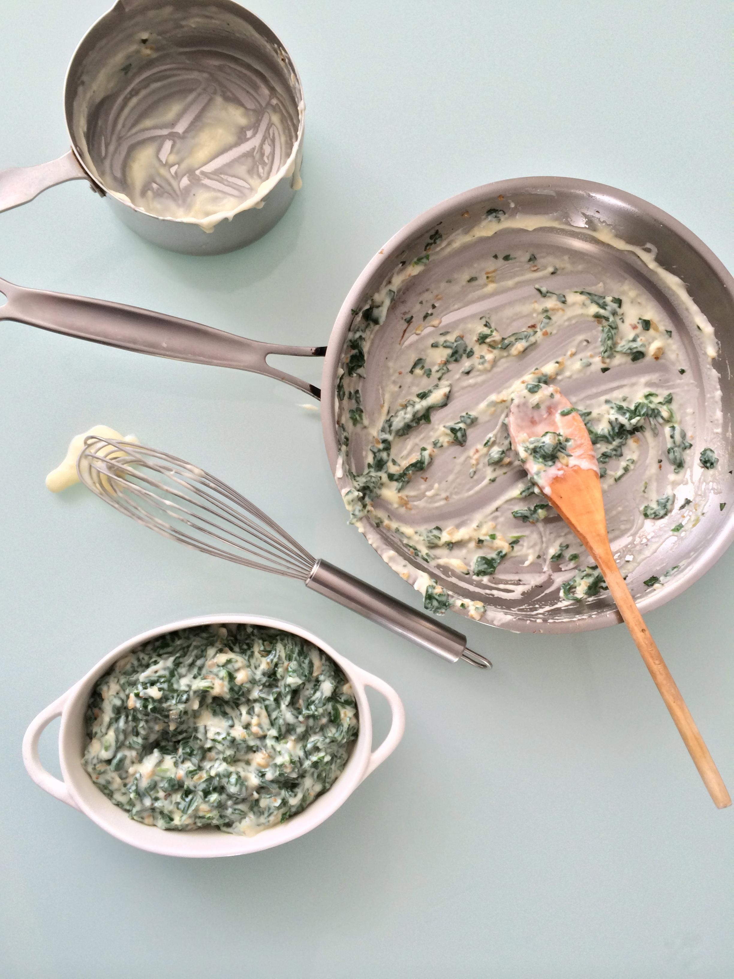 espinacas gratinadas con salsa blanca y queso