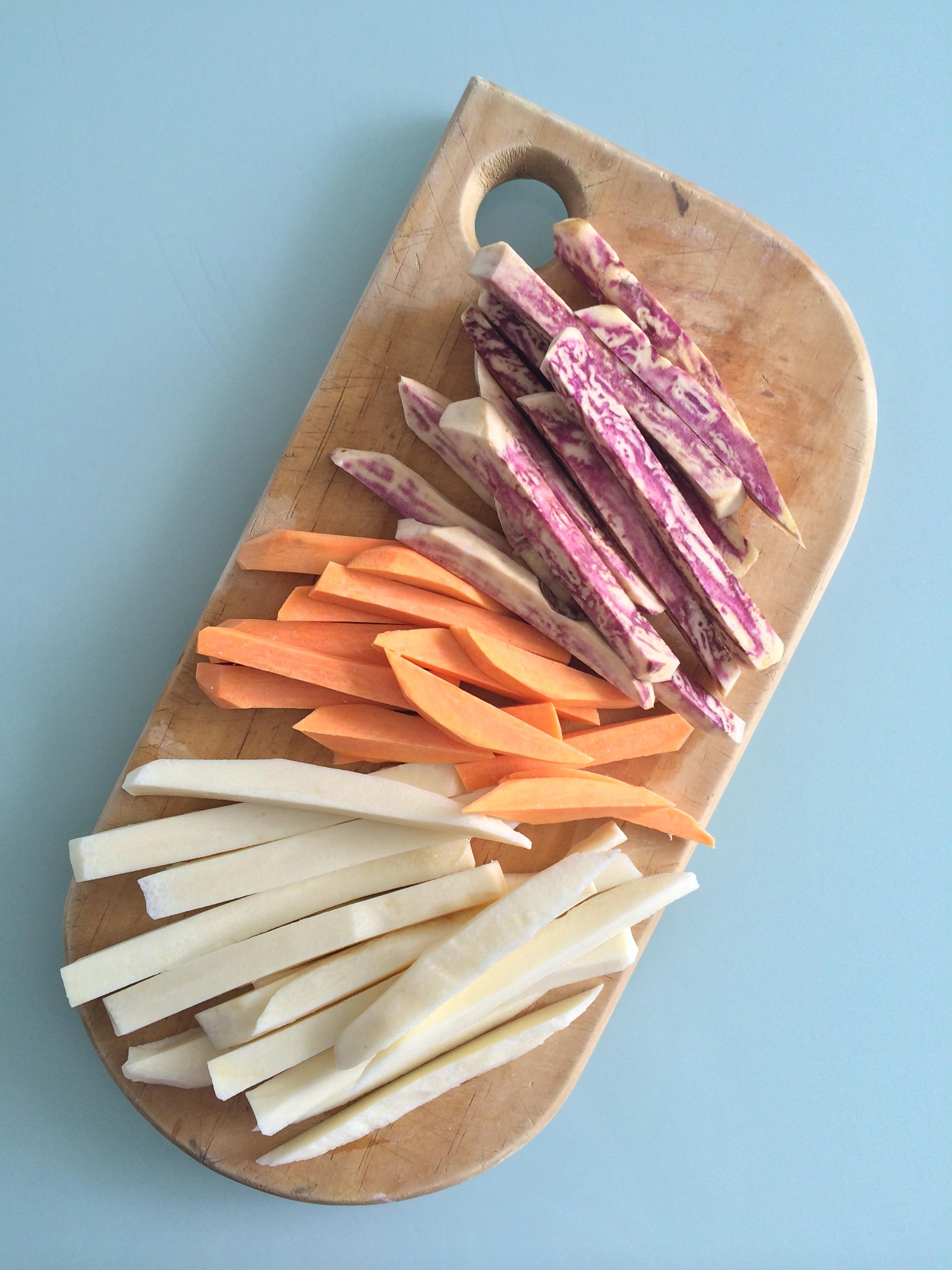 camote y zanahoria blanca + mayonesa de harissa