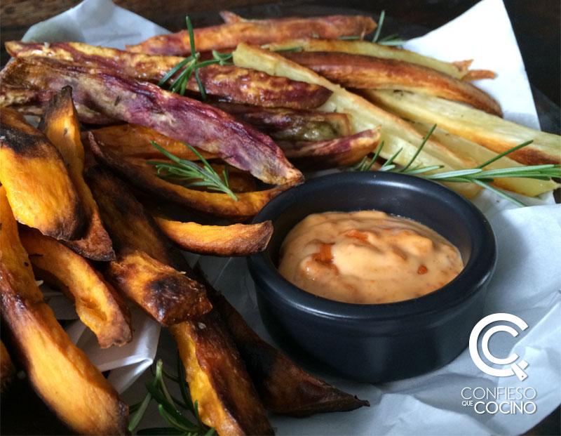 camote y zanahoria blanca al horno + mayonesa de harissa