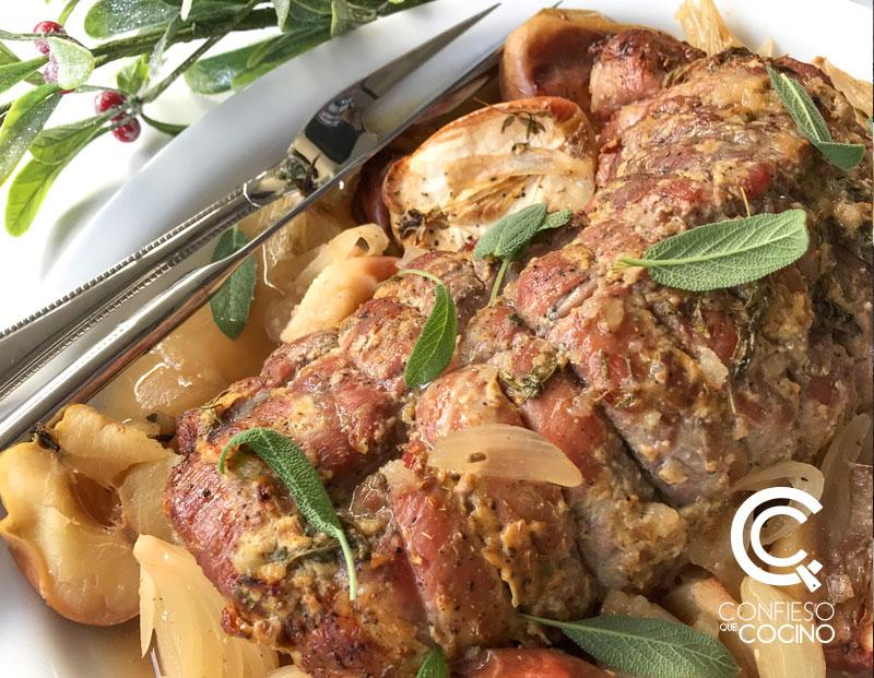 cerdo al horno y mimosas de uva
