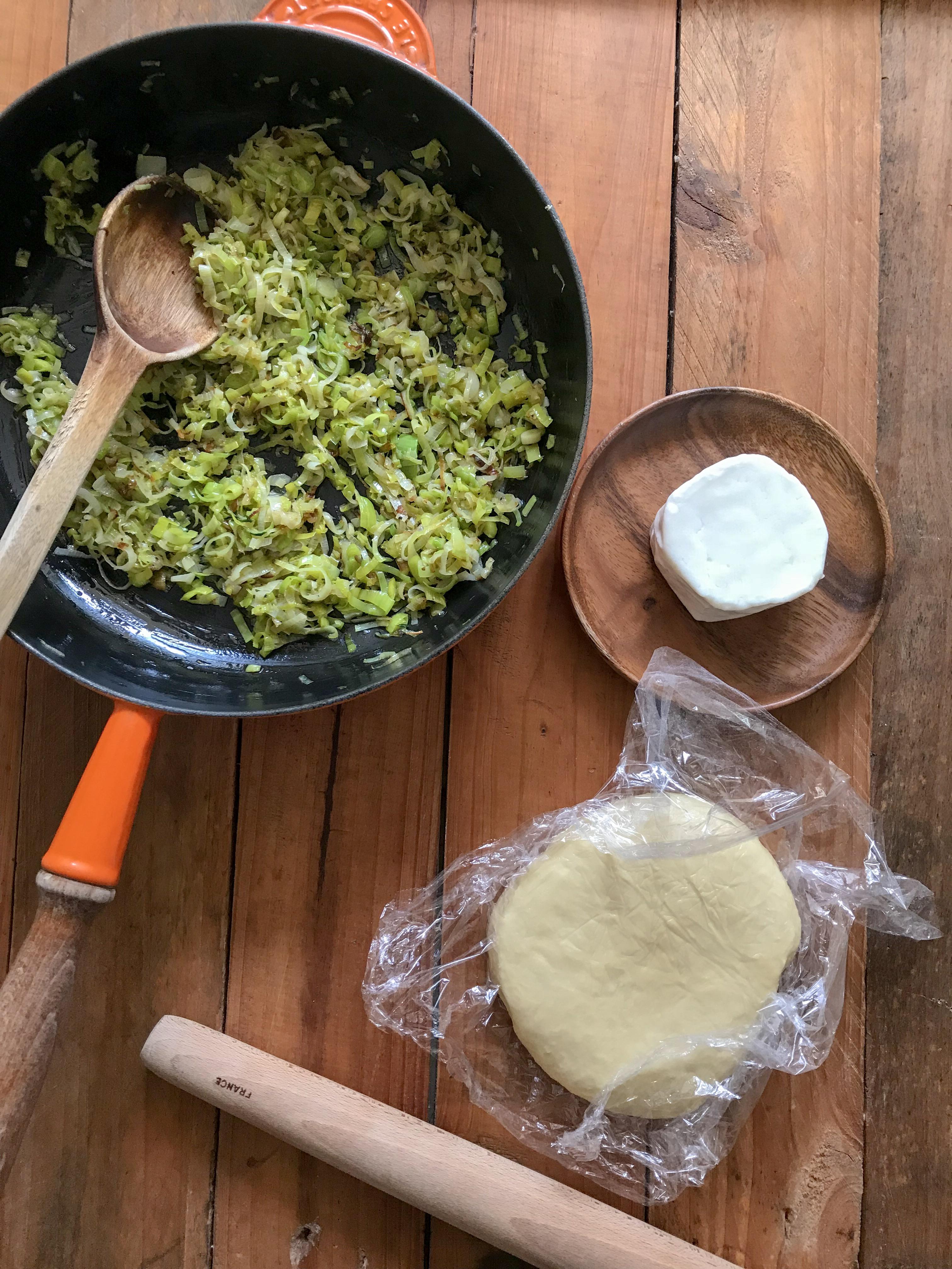 galette de puerros con queso de cabra