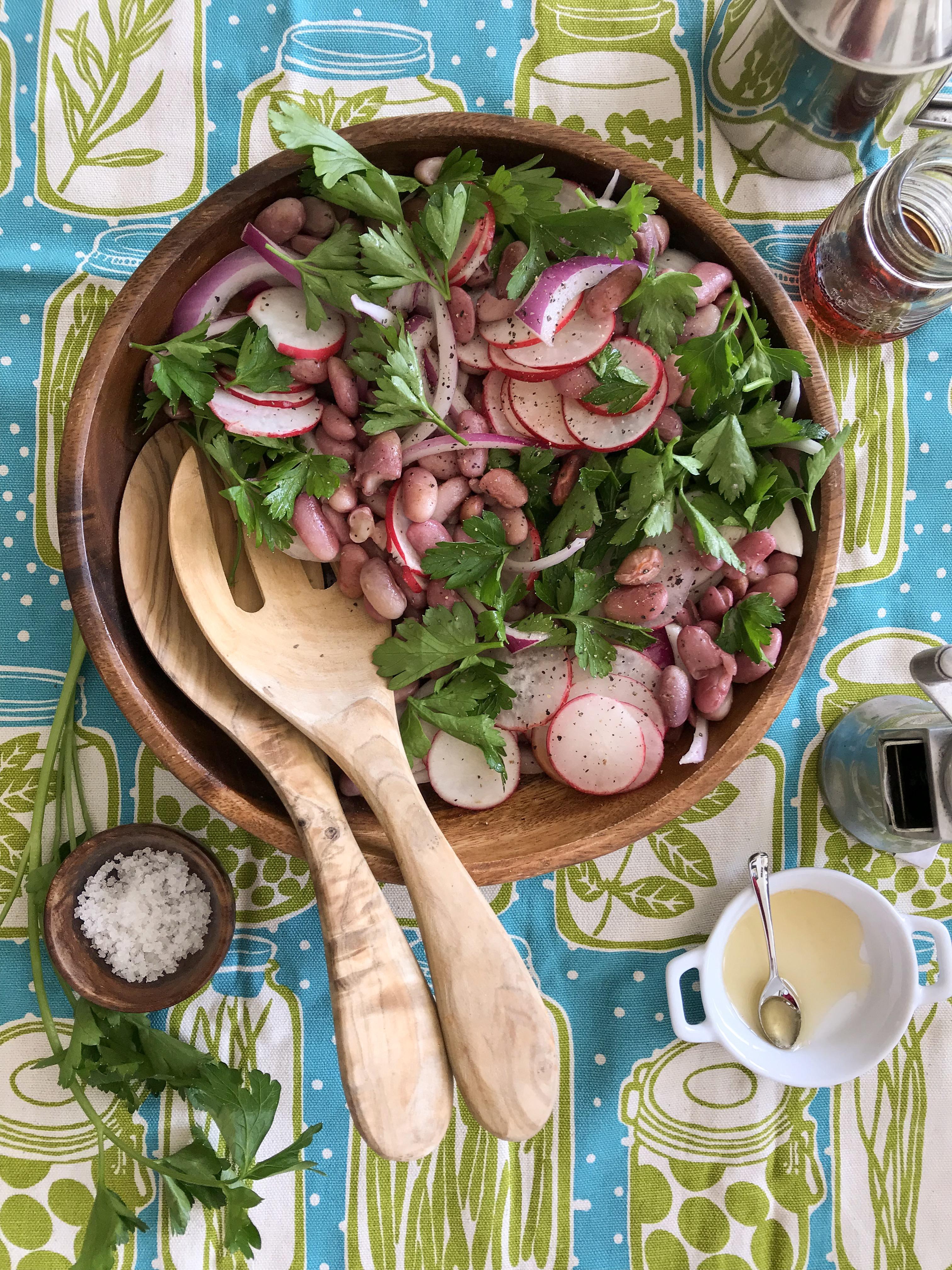 ensalada frejoles rabano cebolla