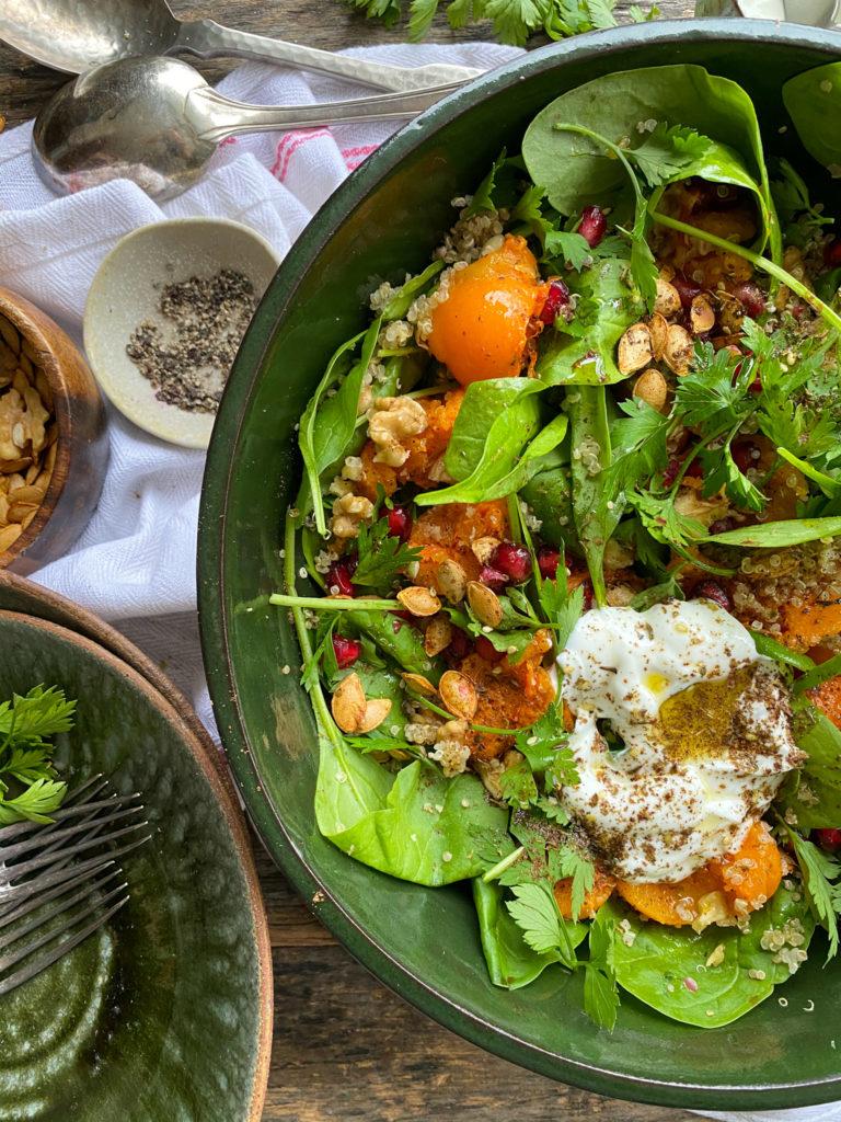 ensalada de zapallo asado con quinua y espinaca